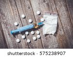 hard drugs on an old wooden... | Shutterstock . vector #575238907