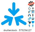 triple collide arrows icon with ... | Shutterstock .eps vector #575256127