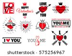 vector set of valentines day... | Shutterstock .eps vector #575256967
