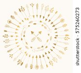 golden vector arrows. hand... | Shutterstock .eps vector #575260273