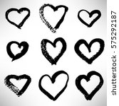 set of hand drawn hearts. cute... | Shutterstock .eps vector #575292187