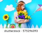 pretty young woman with... | Shutterstock . vector #575296393