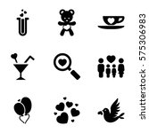 love icon. set of 9 love filled ... | Shutterstock .eps vector #575306983