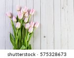bouquet of pink tulips on a... | Shutterstock . vector #575328673