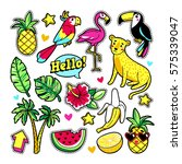 fashion tropic patches with... | Shutterstock .eps vector #575339047
