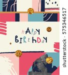 happy birthday typographic... | Shutterstock .eps vector #575346517
