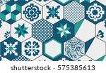 vintage geometric tiles. retro... | Shutterstock .eps vector #575385613