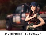Female Driver In Army Outfit...