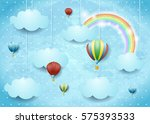 surreal cloudscape with hot air ... | Shutterstock .eps vector #575393533
