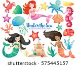 under the sea   mermaid and... | Shutterstock .eps vector #575445157