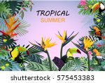 fantastic tropical forest with... | Shutterstock . vector #575453383