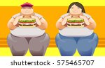 big man and woman with the... | Shutterstock .eps vector #575465707
