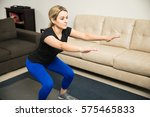cute young woman in sporty...   Shutterstock . vector #575465833