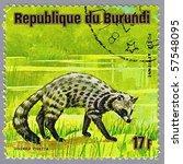 Small photo of REPUBLIC OF BURUNDI - CIRCA 1975: A stamp printed in Republic of Burundi shows African civet, series, circa 1975