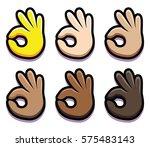 vector set of ok hands isolated ... | Shutterstock .eps vector #575483143