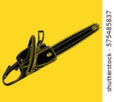 black vector chainsaw isolated...