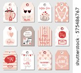 valentines day collection with... | Shutterstock .eps vector #575486767
