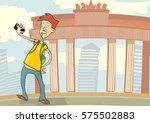 teenager taking a self portrait.... | Shutterstock .eps vector #575502883