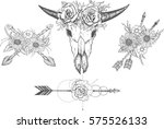 beautiful boho elements .... | Shutterstock .eps vector #575526133
