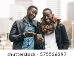 business men using mobile in...   Shutterstock . vector #575526397
