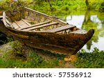 Old Wooden Fishing Boat On The...