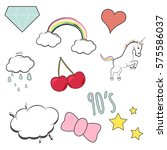 trendy funny patches... | Shutterstock .eps vector #575586037