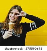 outdoor fashion portrait of... | Shutterstock . vector #575590693