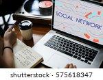 internet social platform media... | Shutterstock . vector #575618347