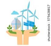 clean hands hold renewable... | Shutterstock .eps vector #575628817