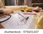 carpenter tools on wooden... | Shutterstock . vector #575651107