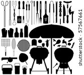 barbecue bbq silhouette set... | Shutterstock .eps vector #57567661