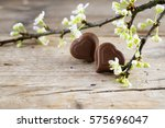 Two Chocolate Heart Pralines A...