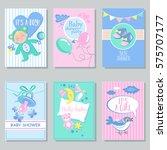 baby shower card set for boy... | Shutterstock .eps vector #575707177