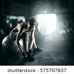 workout with fitness ball | Shutterstock . vector #575707837
