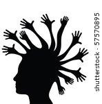 black side silhouette of human...   Shutterstock . vector #57570895
