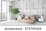 modern bright interior . 3d... | Shutterstock . vector #575709103