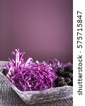 Small photo of Salad of red cabbage and blackberries in a crystal salad bowl / salad of red cabbage and blackberries in a crystal salad bowl / Nadale
