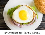 Hamburger With Fried Eggs And...