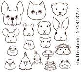 pet animals faces line art set | Shutterstock .eps vector #575813257