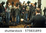 press conference. public... | Shutterstock . vector #575831893