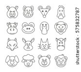 animal head icons set in thin... | Shutterstock .eps vector #575832787