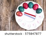 easter eggs painted on white