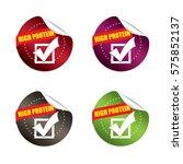 high protein round stickers... | Shutterstock .eps vector #575852137