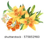 Stock photo yellow lily flower watercolor bouquet 575852983