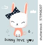 sweet bunny illustration for... | Shutterstock .eps vector #575908207