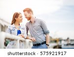 couple embracing their love and ... | Shutterstock . vector #575921917