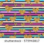 gold glittering heart confetti...   Shutterstock .eps vector #575943817