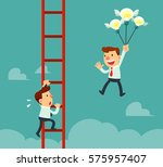 happy businessman holding idea... | Shutterstock .eps vector #575957407