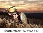 warrior in helmet with bare... | Shutterstock . vector #575965447