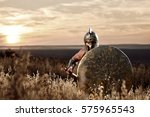soldier like spartan in bronze... | Shutterstock . vector #575965543